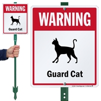 Warning Guard Cat LawnBoss™ Signs