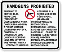 Bilingual Handguns Prohibited Sign for Texas State - (section 30.06)