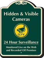 Hidden & Visible Cameras Surveillance Signature Sign