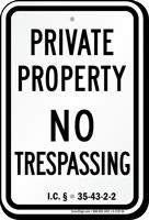 Indiana No Trespassing Sign