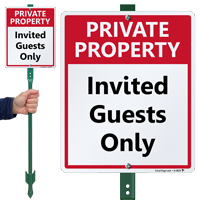 Private Property Invited Guests Only LawnBoss Sign