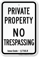 Iowa No Trespassing Sign