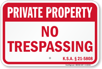 Kansas Private Property Sign