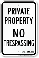 Kentucky No Trespassing Sign