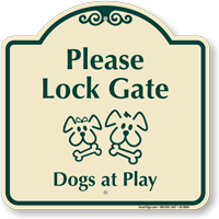 Lock Gate, Dogs At Play Signature Sign