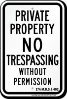 Maine No Trespassing Sign