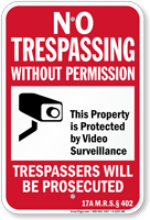 Maine Property Is Protected By Video Surveillance Sign