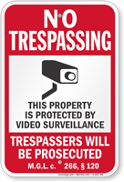 Massachusetts Trespassers Will Be Prosecuted Sign