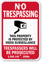 Missouri Property Is Protected By Video Surveillance Sign