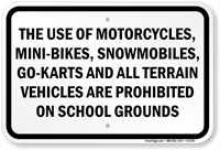 The Use Of All Terrain Vehicles Prohibited Sign