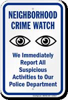 Neighborhood Crime Watch Eyes Symbol Plastic Sign
