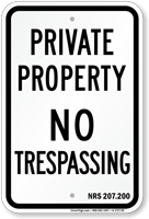 Nevada No Trespassing Sign