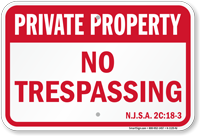 New Jersey Private Property Sign