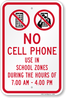 No Cell Phone In School Zone Sign