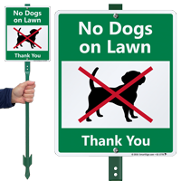 No Dogs On Lawn Lawnboss Sign