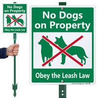 No Dogs On Property Sign