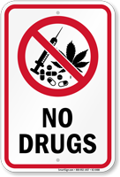 No Drugs Sign with No Marijuana Symbol