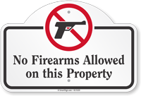 No Firearms Allowed On This Property Dome Top Sign