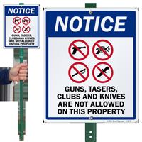 No Guns Tazers Clubs & Knives Sign
