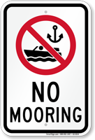 No Mooring Sign with Symbol