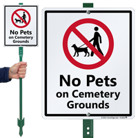 No Pets On Cemetery Grounds Sign & Kit