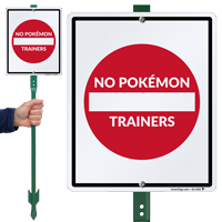 No Pokémon Trainers, Do Not Enter Lawnboss Sign