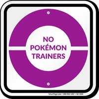 No Pokémon Trainers Sign, Purple Poké Ball