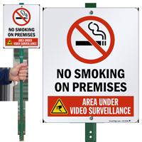 No Smoking on Premises Video Surveillance LawnBoss Sign