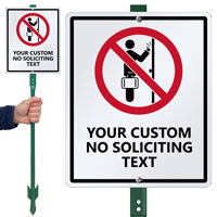 No Soliciting Custom LawnBoss Sign & Stake Kit