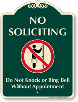 No Soliciting Do Not Knock Signature Sign