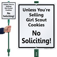 Unless Selling Girl Scout Cookies No Soliciting Sign