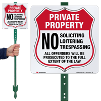 No Soliciting Loitering Trespassing LawnBoss Sign