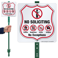 No Soliciting No Exceptions LawnBoss Sign