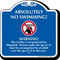 No Swimming Signature Warning Sign