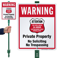 No Trespassing 24 Hour Surveillance LawnBoss Sign