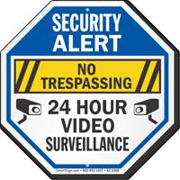 No Trespassing 24 Hour Video Surveillance Security Sign