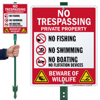 No Trespassing Beware Of Wildlife LawnBoss Sign