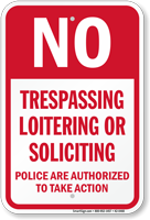 No Trespassing Loitering Soliciting Sign