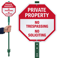 No Trespassing No Soliciting LawnBoss Sign