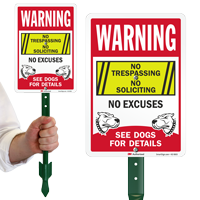 No Trespassing No Soliciting LawnPuppy Sign and Stake Kit