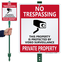 No Trespassing, Private Property with Graphic Sign
