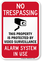 No Trespassing & Video Surveillance Sign (with Graphic)