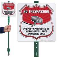 No Trespassing Video Surveillance LawnBoss Sign