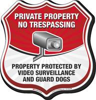 No Trespassing Video Surveillance Shield Sign