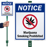 Notice Marijuana Smoking Prohibited LawnBoss Sign
