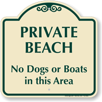 Private Beach No Dogs Or Boats Area Sign