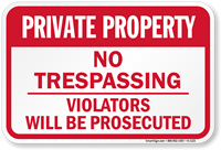 Aluminum Private Property No Trespassing Sign