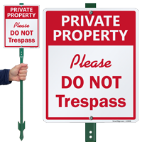 Private Property Please Do Not Trespass Sign