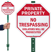 Private Property No Trespassing Violators Prosecuted Sign