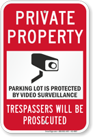 Private Property Parking Lot Security Sign